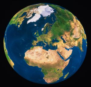 Earth, Europe and Africa prominent, satellite view