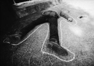 Dead man on ground, b&w