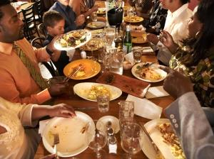 Multigenerational, African American Family eating