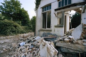 Earthquake wracked house, close-up