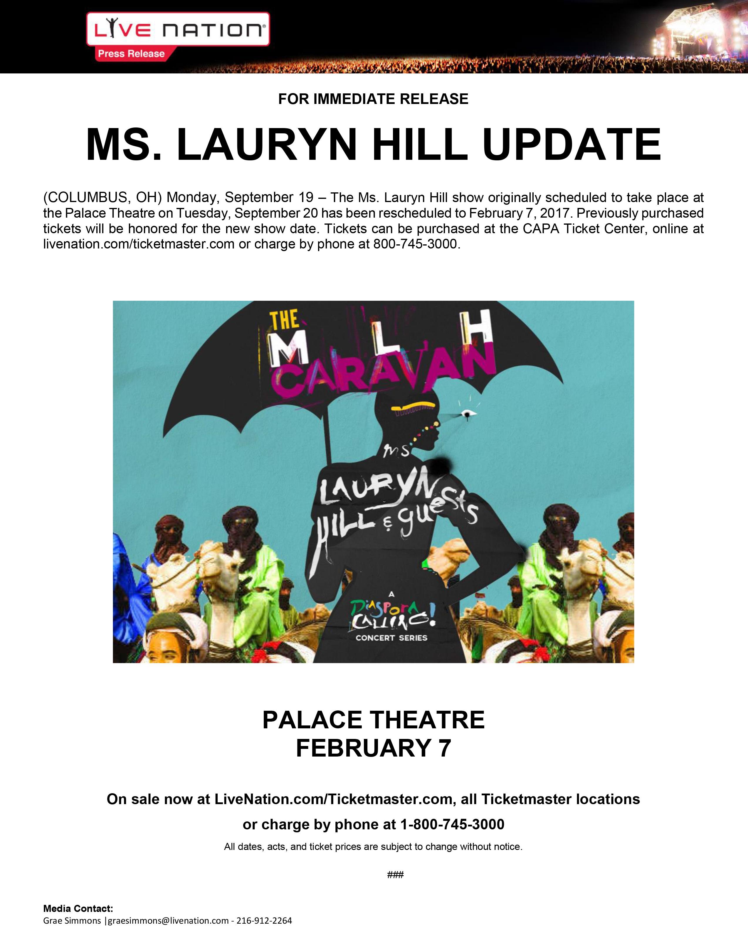 Lauryn Hill Columbus Update