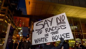 A legal, nonviolent demonstration was held in front of Trump...
