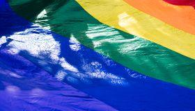 High Angle View Of Rainbow Flag