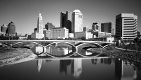 Rich Street Bridge Over Scioto River Against Buildings