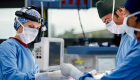 Female surgeon operation patient in emergency room