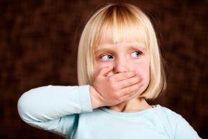 Beautiful blonde toddler makes 'Speak no Evil' sign