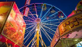 USA, Massachusetts, Cape Ann, Gloucester, Carnival rides during annual Saint Peters Fiesta
