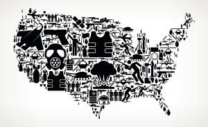 United States Map War and Modern Warfare Vector Icon Pattern