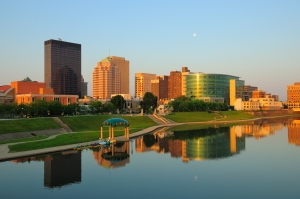 Dayton, OH skyline at sunrise