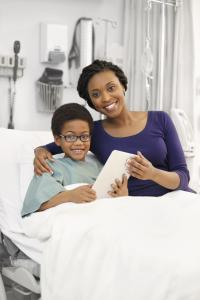 Mother and son in the hospital