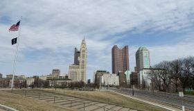 American Flag Over Downtown Columbus Ohio Skyline