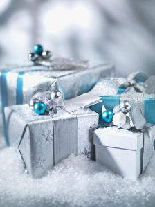 Christmas gifts with silver ribbon