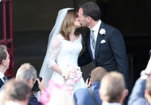 Geri Halliwell and Christian Horner leaving after the nuptials.