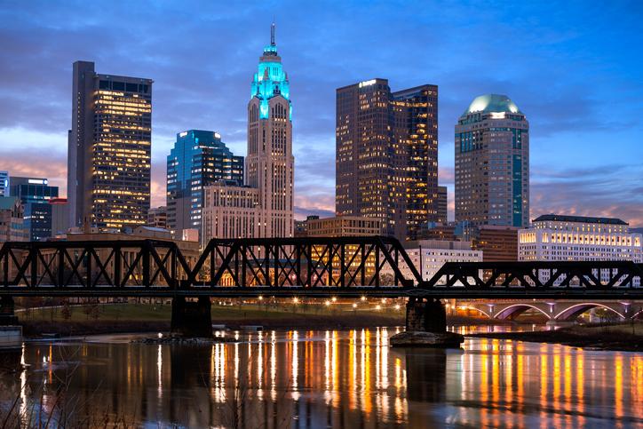 Skyline, Sunrise, Railway Bridge, Columbus, Ohio, America