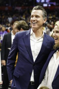 Governor of California Gavin Newsom at the opening game of the NBA season between the Los Angeles Clippers and the Los Angeles Lakers at the Staples Center