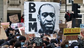 Demonstrators march from the American Embassy through London on Sunday 7 June 2020 for a protest organised by Black Lives Matter in reaction to the death of George Floyd in Minneapolis, US while in police custody. Photo by Cat Morley/B8213/Avalon/Retna
