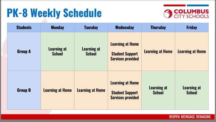 CCS 2020 PK-8 Weekly Schedule