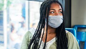 People using public transportation during pandemic corona virus