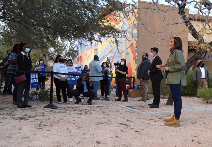 Democratic Nominee For Vice President Kamala Harris Campaigns In Las Vegas