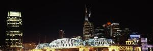 Skylines and Shelby Street Bridge at night, Nashville, Tennessee, USA 2013