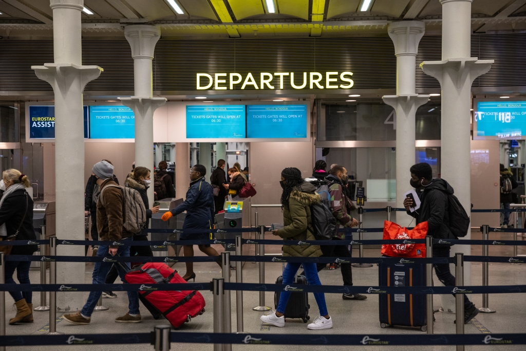 Travellers arrive for Eurostar to Paris