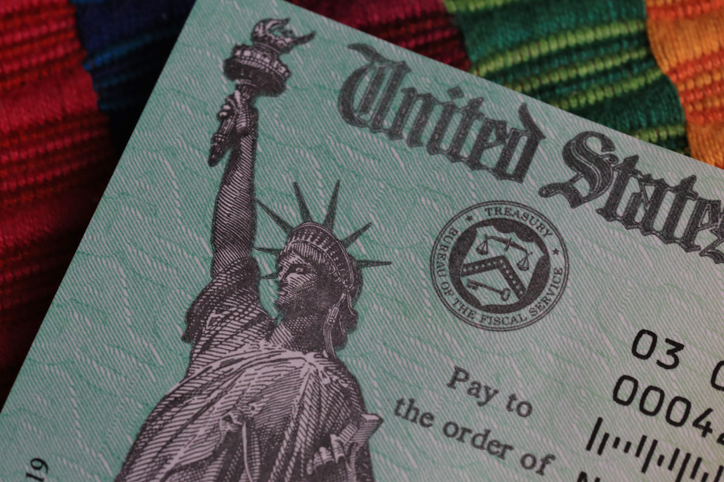 Partial view on a US Treasury payment check