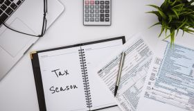 Tax Season. Tax Financial Planning. Form 1040 on Working Desk.