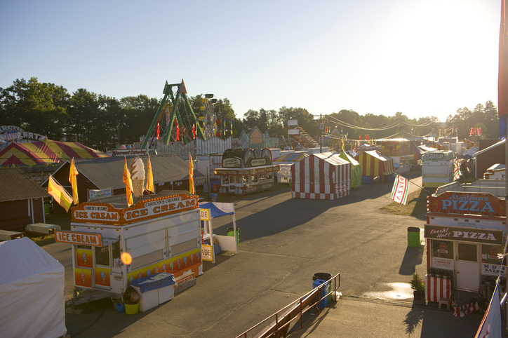 Early morning at the Franklin County Fair, before the gates open to the public, Greenfield, Massachusetts, USA 11 August 2010