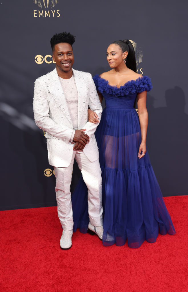All the Lewks & Hot Mess from the 2021 Emmy Red Carpet: Leslie Odom Jr. and Nicolette Robinson