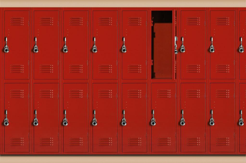 Red school lockers, one locker open (Digital Composite)